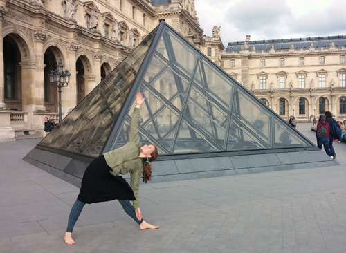 Triangle pose at the Louvre